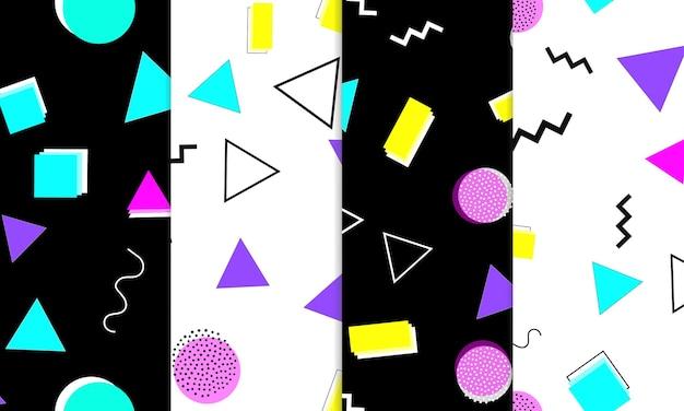 Conjunto de padrões sem emenda divertido doodle. memphis colorido funky.
