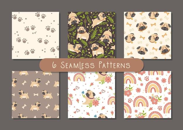 Conjunto de padrões sem emenda do bebê pug crianças. cachorro ou cachorrinho e flores da primavera