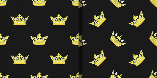 Conjunto de padrões sem emenda do bordado da coroa de ouro. papéis de parede em tecido bordado para fundos repetidos