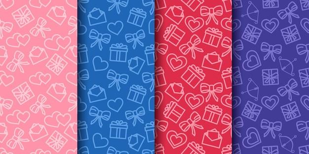 Conjunto de padrões sem emenda do dia dos namorados. papel de embrulho com corações, laços, presentes