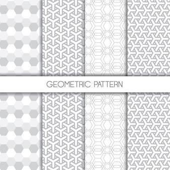 Conjunto de padrões sem emenda elegantes geométricos monocromáticos