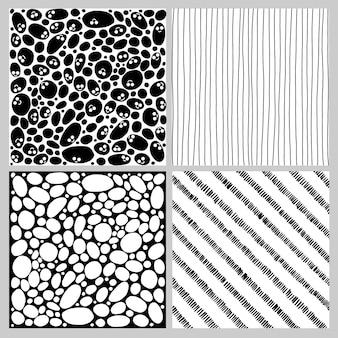 Conjunto de padrões sem emenda em doodle preto e branco