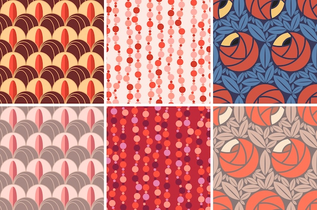 Conjunto de padrões sem emenda em estilo art deco