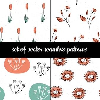 Conjunto de padrões sem emenda. ervas e plantas