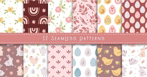 Conjunto de padrões sem emenda florais pastel de páscoa, coelho de páscoa boho, ovos, frango, arco-íris, flores