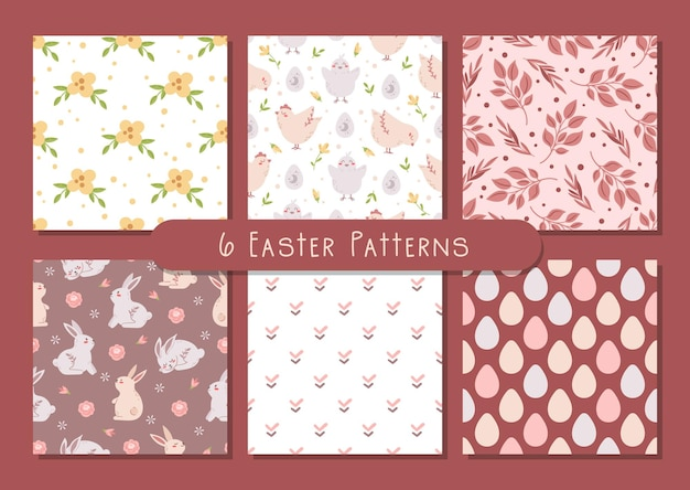 Conjunto de padrões sem emenda florais pastel de páscoa, estilo boho