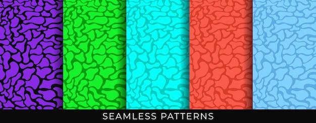 Conjunto de padrões sem emenda. formas orgânicas líquidas fluidas