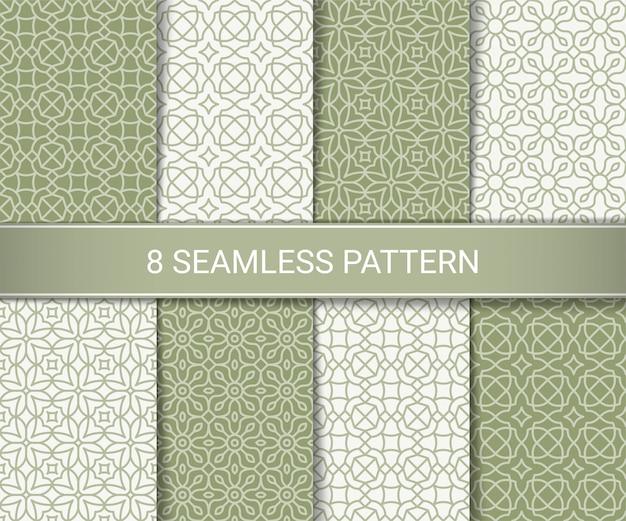 Conjunto de padrões sem emenda geométricos abstratos Vetor Premium