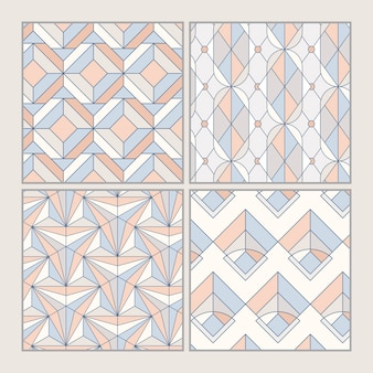 Conjunto de padrões sem emenda geométricos pastel colorido