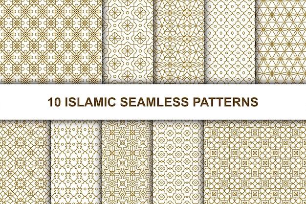 Conjunto de padrões sem emenda islâmicos. estilo geométrico étnico.