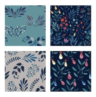 Conjunto de padrões sem emenda naturais coloridos de vetor com flores, folhas e plantas