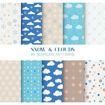 Conjunto de padrões sem emenda - neve e nuvens
