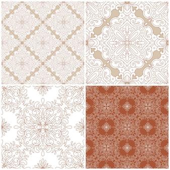 Conjunto de padrões sem emenda. ornamento de damasco vintage. fundo decorativo. ótimo para qualquer projeto.