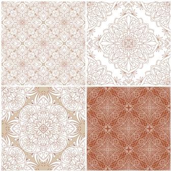 Conjunto de padrões sem emenda. ornamento de damasco vintage.