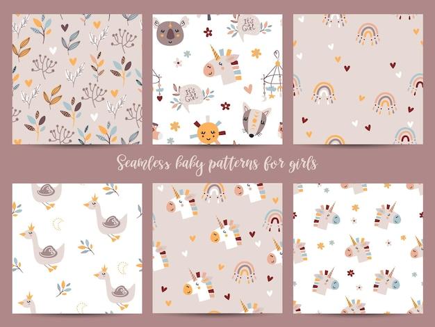 Conjunto de padrões sem emenda para meninas. ilustração para papel de embrulho e scrapbooking