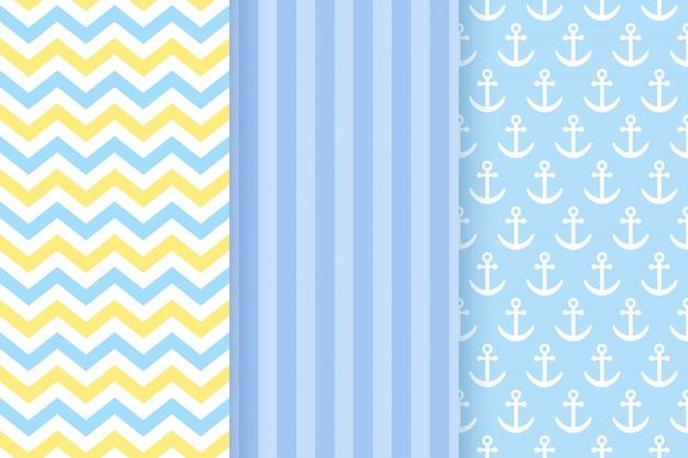 Conjunto de padrões sem emenda pastel azul