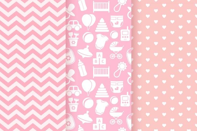 Conjunto de padrões sem emenda pastel rosa
