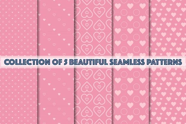 Conjunto de padrões sem emenda rosa geométricos
