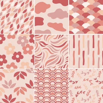 Conjunto de padrões sem emenda rosa pastel