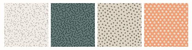 Conjunto de padrões sem emenda texturizados de mão desenhada.