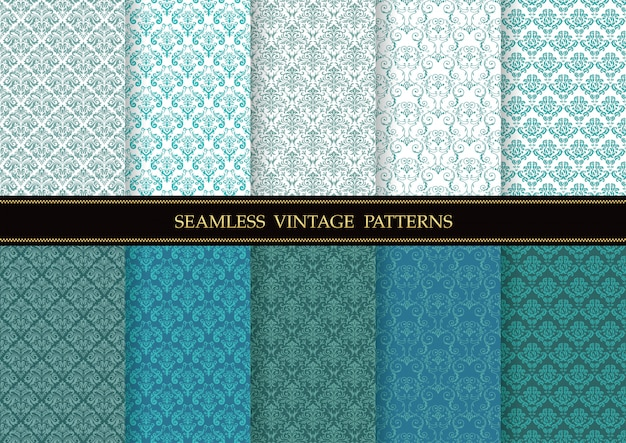 Conjunto de padrões sem emenda vintage de damasco