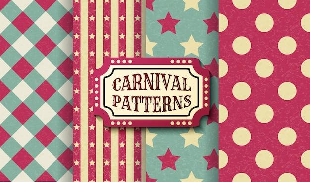 Conjunto de padrões sem emenda vintage retrô de carnaval.