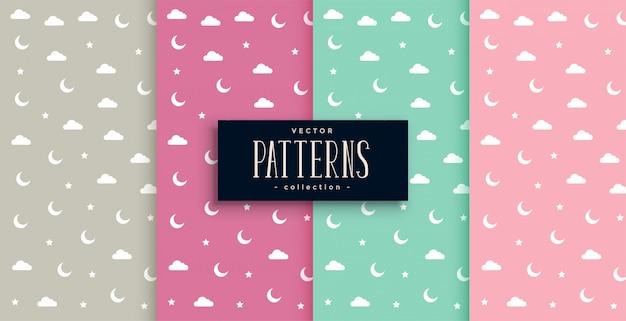 Conjunto de padrões sonhadores de lua e estrela nuvem
