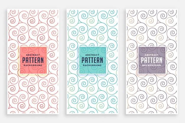 Conjunto de padrões swirly de três cores