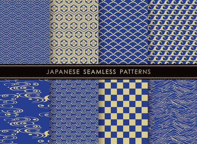 Conjunto de padrões vintage de vetores sem costura japoneses