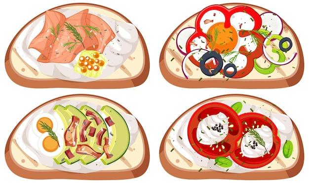Conjunto de pães com cobertura isolada
