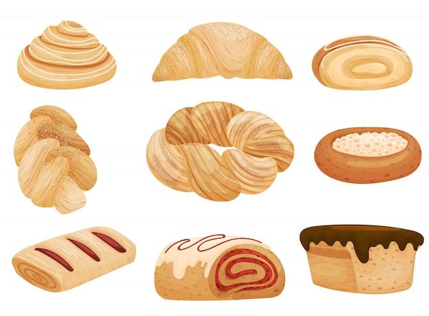 Conjunto de pães com diferentes recheios e granulado. ilustração em fundo branco.