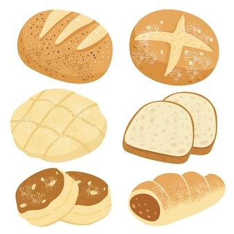Conjunto de pães e pães.
