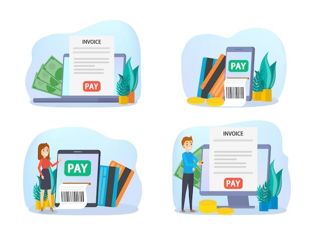 Conjunto de pagamento móvel. coleta de transações de dinheiro digital por meio de dispositivo moderno. conceito de tecnologia eletrônica. ilustração vetorial no estilo cartoon