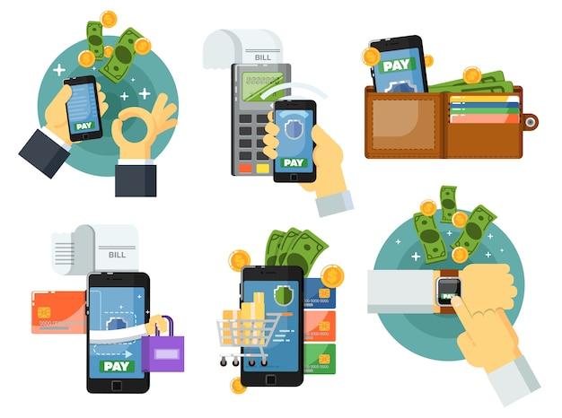 Conjunto de pagamento móvel em design plano