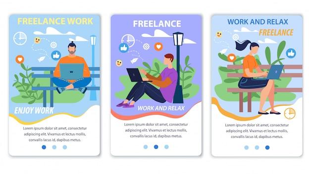 Conjunto de página da web móvel plana promovendo trabalho freelance