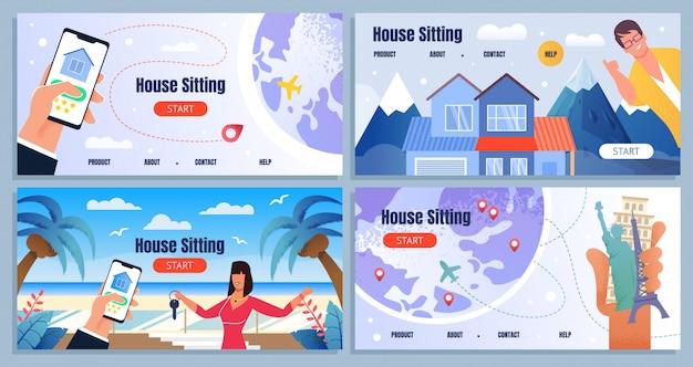 Conjunto de página de aterragem anunciar casa em todo o mundo sentado