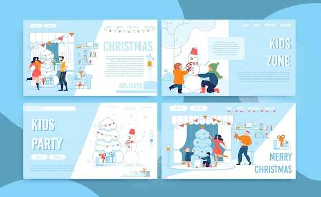 Conjunto de página de aterragem de tempo de festa de celebração de natal