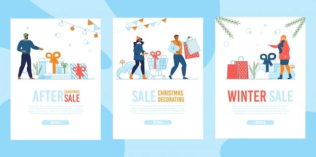 Conjunto de página de aterragem móvel plana de venda de natal no inverno
