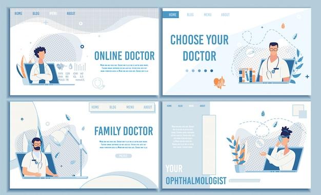 Conjunto de página de aterrissagem plana de consulta médica on-line