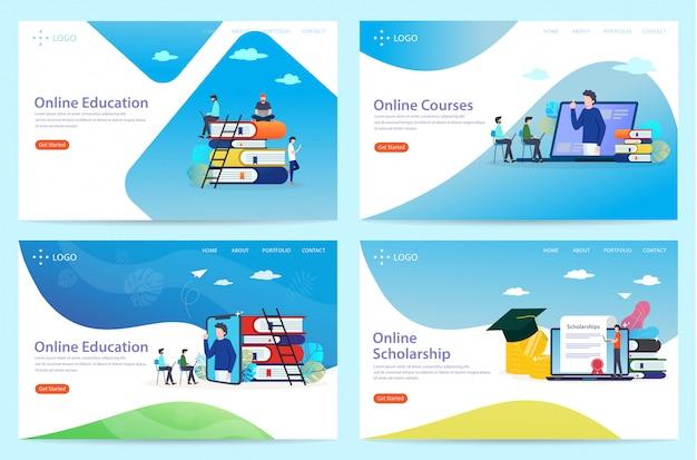 Conjunto de página de destino com o tema da educação, ilustração