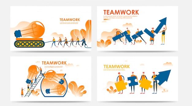 Conjunto de página de destino e página da web com o conceito de idéia de trabalho em equipe pelo funcionário da empresa
