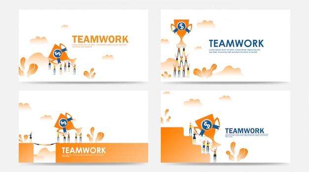 Conjunto de página de destino e prêmio de vencedor do trabalho em equipe de página da web por funcionário da empresa