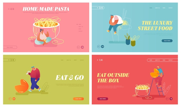 Conjunto de página inicial do site de comida asiática. minúsculos personagens masculinos e femininos comendo macarrão em uma caixa para viagem e lendo a previsão do biscoito da sorte. banner de página da web de refeição oriental. flat cartoon