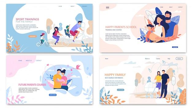 Conjunto de página inicial rápida, família feliz de inscrição