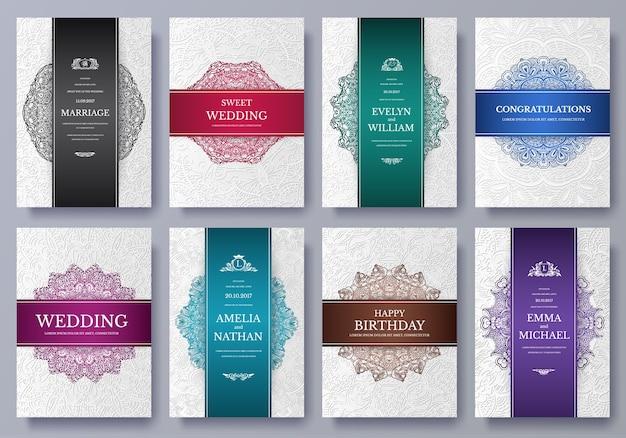 Conjunto de páginas artísticas de cores de luxo com modelo de folheto de logotipo