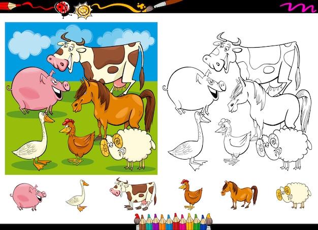 Conjunto de páginas coloridas dos animais de fazenda