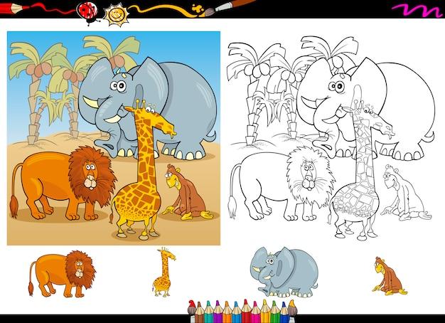 Conjunto de páginas colorir para animais africanos
