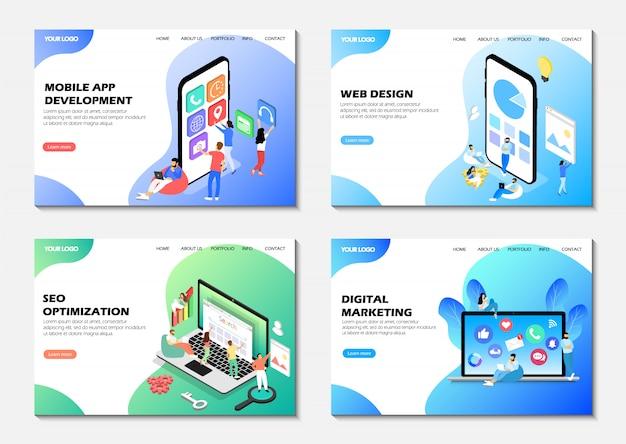 Conjunto de páginas da web. desenvolvimento de aplicativos móveis, otimização seo, marketing digital, web design.