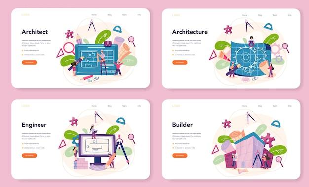 Conjunto de páginas da web do banner de arquitetura.