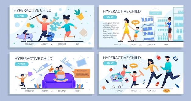 Conjunto de páginas de aterrissagem plana de crianças hiperativas